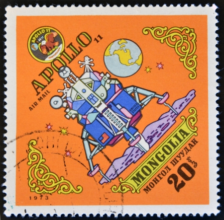 exploratory: MONGOLIA - CIRCA 1973: A stamp printed in Mongolia, shows Apollo 11, circa 1973