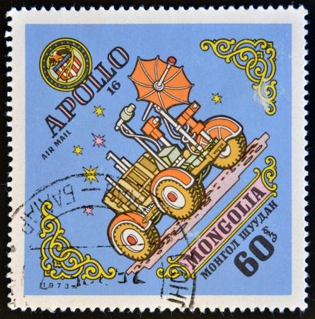 moonwalk: MONGOLIA - CIRCA 1973: A stamp printed in Mongolia, shows Apollo 16, circa 1973