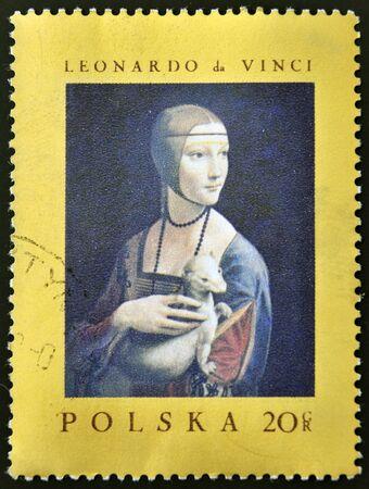 gronostaj: POLSKA - CIRCA 1970: Stempel drukowane w Polsce pokazuje obraz Leonarda da Vinci - Dama z gronostajem, circa 1970