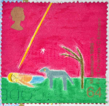 UNITED KINGDOM - CIRCA 1999: a stamp printed in Great Britain shows a children's drawings commemorating the first Christmas of the millennium, circa 1999  Stock Photo - 14678079