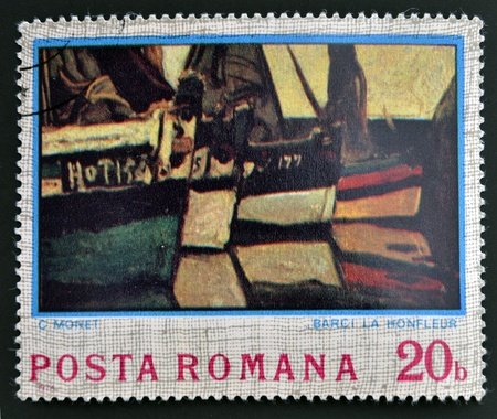 monet: ROMANIA - CIRCA 1974: stamp printed in Romania shows Boats at Monfleur by Claude Monet, circa 1974