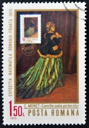 monet: ROMANIA - CIRCA 1970: stamp printed in Romania shows portrait of Camilla, by Claude Monet, circa 1970