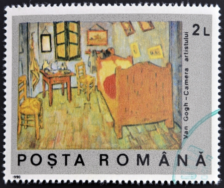 ROMANIA - CIRCA 1990: A stamp printed in Romania shows Van Goghs Bedroom, circa 1990  photo