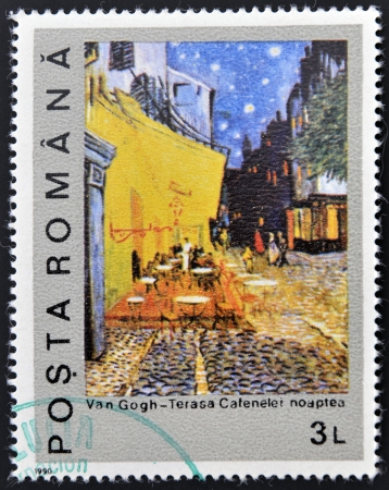 van gogh: ROMANIA - CIRCA 1990: A stamp printed in Romania shows Night on the Coffee Terrace by Vincent Van Gogh, circa 1990