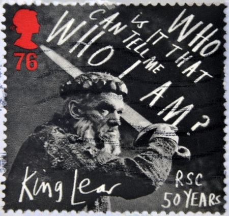 lear: UNITED KINGDOM - CIRCA 2011: a stamp printed in Great Britain shows a scene of the movie King Lear, in his 50 years in the story written by William Shakespeare, circa 2011