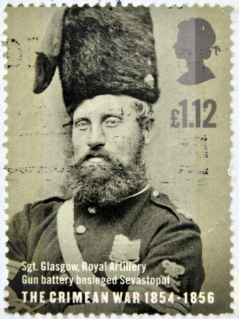 UNITED KINGDOM - CIRCA 2004: a stamp printed in Great Britain shows a portrait of Sergeant Glasgow who participated in the Crimean War, circa 2004 Stock Photo - 14668110