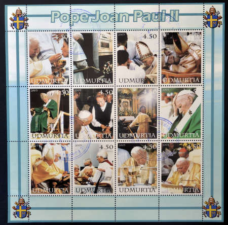 UDMURTIA - CIRCA 2003: Collection stamps printed in Udmurtia shows Pope John Paul II, circa 2003