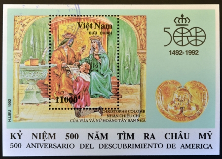 VIETNAM - CIRCA 1992: A stamp printed in Vietnam shows commemorates the 500th anniversary of the discovery of America , circa 1992  Stock Photo - 14668131