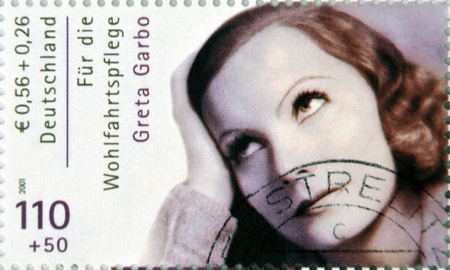 GERMANY - CIRCA 2001:A stamp printed in Germany shows actress Greta Garbo, circa 2001