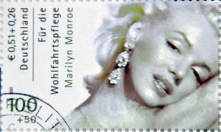marilyn: GERMANY - CIRCA 2001:A stamp printed in Germany shows Marilyn Monroe, circa 2001