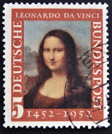 GERMANY- CIRCA 1952 : A stamp printed in Germany shows Mona Lisa, 500th anniversary of Leonarde da Vincis birth, circa 1952