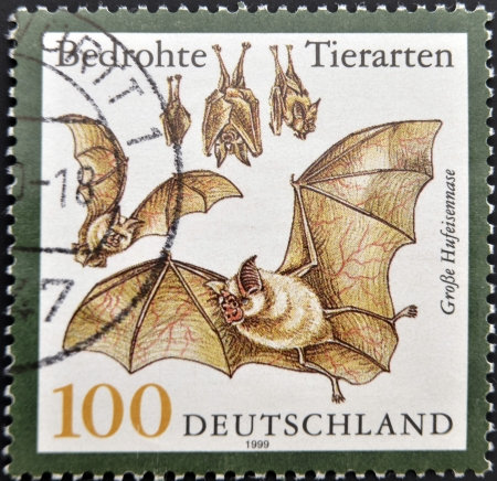 GERMANY - CIRCA 1999: A stamp printed in Germany shows bats, circa 1999 photo