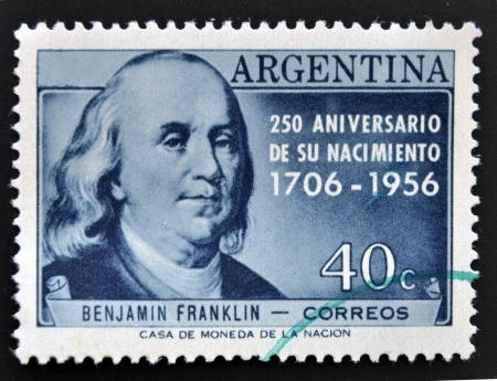 the franklin: ARGENTINA - CIRCA 1956: A stamp printed in Argentina shows Benjamin Franklin, circa 1956