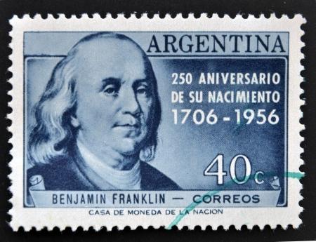 ARGENTINA - CIRCA 1956: A stamp printed in Argentina shows Benjamin Franklin, circa 1956 Stock Photo - 14803339
