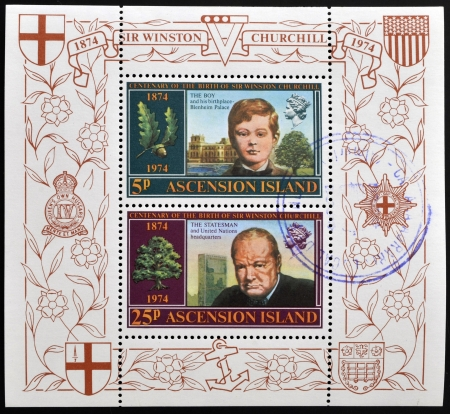 ASCENSION ISLAND - CIRCA 1974: Stamps printed in Ascension Island shows Sir Winston Churchill, circa 1974