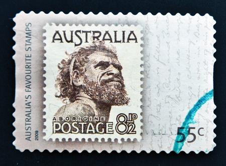 aborigine: AUSTRALIA - CIRCA 2009: A  stamp printed in the Australia showing an Aborigine Man named One Pound Jimmy, circa 2009