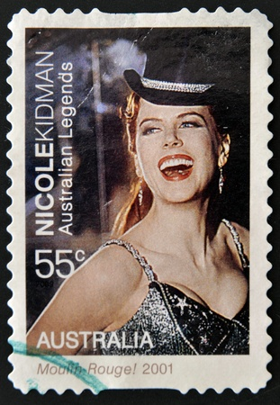 rouge: AUSTRALIA - CIRCA 2001: A stamp printed in Australia shows Portrait of Nicole Kidman in the movie Moulin Rouge, circa 2001