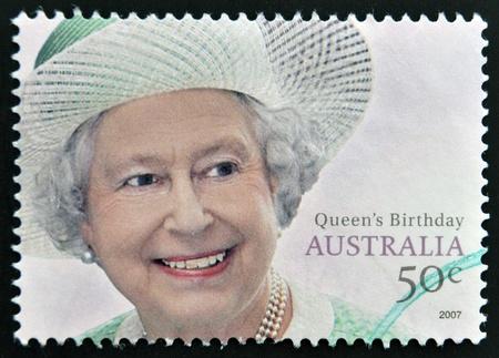 AUSTRALIA - CIRCA 2007: A stamp printed in Austraia shows Queen Elizabeth II, circa 2007