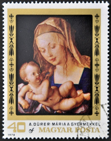 HUNGARY - CIRCA 1978: stamp printed in Hungary, shows the painting of the Virgin Mary with Child by A. Dürer, circa 1978