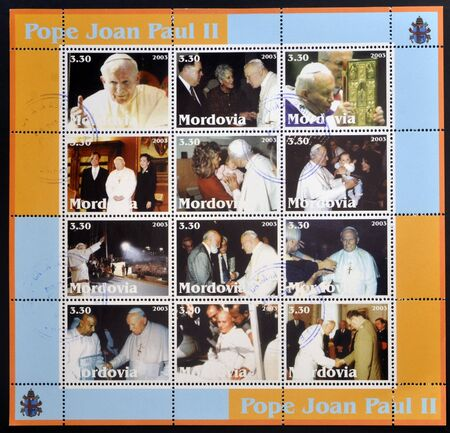 MORDOVIA - CIRCA 2003: Collection stamps printed in Mordovia shows Pope John Paul II, circa 2003 Stock Photo - 14803327