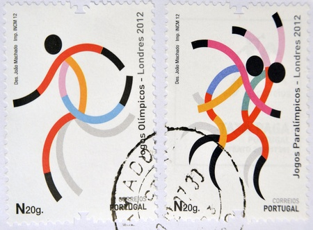 PORTUGAL - CIRCA 2012: Stamps printed in Portugal dedicated to the Olympic and Paralympic Games in London, circa 2012