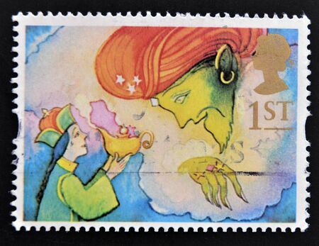 UNITED KINGDOM - CIRCA 1985: a stamp printed in the Great Britain shows Aladdin and the Genie, circa 1985 Stock Photo - 14823675
