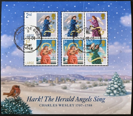UNITED KINGDOM - CIRCA 2007: Collection stamps printed in Great Britain shows The Herald Angels Sing, Christmas, circa 2007 Stock Photo - 14823722