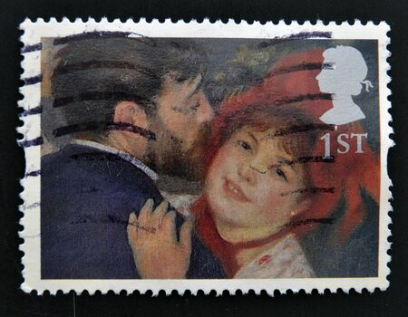 UNITED KINGDOM - CIRCA 2005: A stamp printed in Great Britain shows La Danse a la Campagne (The Dance in the Country) by Renoir, circa 2005