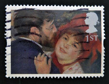 UNITED KINGDOM - CIRCA 2005: A stamp printed in Great Britain shows 'La Danse a la Campagne' (The Dance in the Country) by Renoir, circa 2005 Stock Photo - 14803359