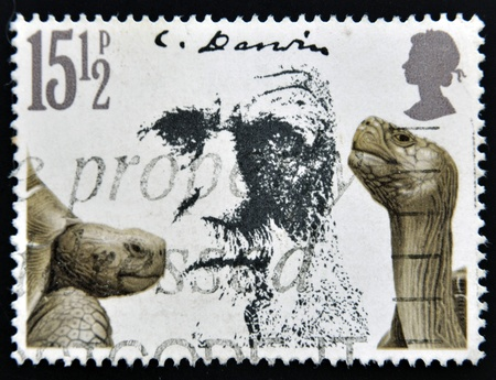 UNITED KINGDOM - CIRCA 1981: A stamp printed in Great Britain shows Charles Darwin and Giant Tortoises, circa 1981  photo