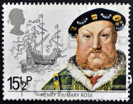 viii: UNITED KINGDOM - CIRCA 1982: A stamp printed in Great Britain shows King Henry VIII and the Mary Rose, circa 1982