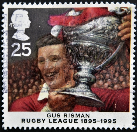UNITED KINGDOM - CIRCA 1995: A stamp printed in the Great Britain shows Gus Risman, Centenary of Rugby League, circa 1995