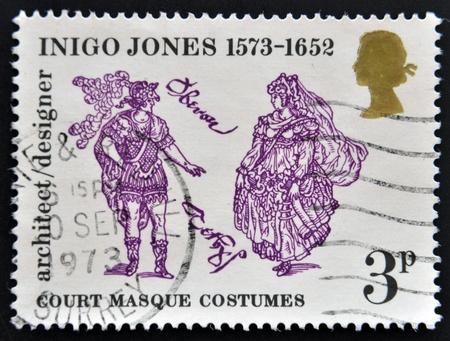 jones: UNITED KINGDOM - CIRCA 1973: A stamp printed in Great Britain dedicated to 400th Anniversary of the Birth of Inigo Jones, shows court masque costumes, circa 1973