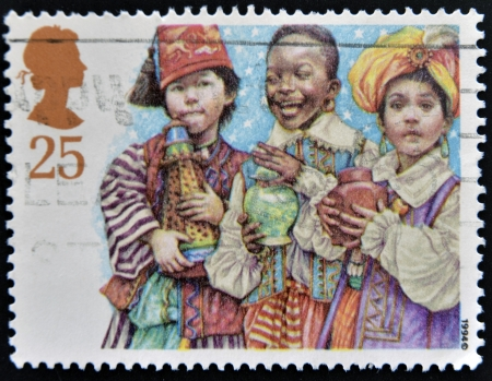 used stamp: UNITED KINGDOM - CIRCA 1994: A Stamp printed in Great Britain showing Three Kings Nativity Scene, circa 1994  Stock Photo