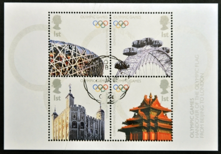 UNITED KINGDOM - CIRCA 2008: Four stamps deciated to Olympics Handover from Beijing to London, circa 2008