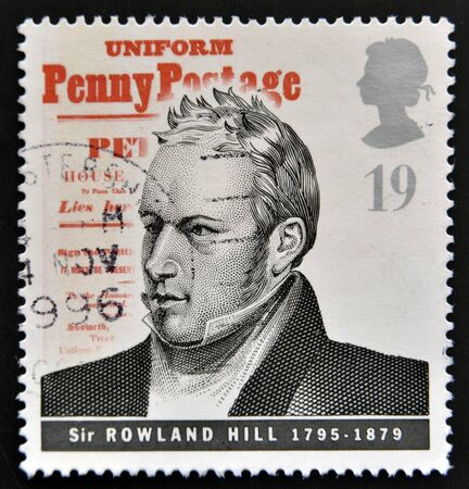 UNITED KINGDOM - CIRCA 1995: mail stamp printed in Great Britain commemorating the work of postage pioneer Sir Rowland Hill, circa 1995  Stock Photo - 14803335