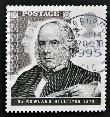 UNITED KINGDOM - CIRCA 1995: mail stamp printed in Great Britain commemorating the work of postage pioneer Sir Rowland Hill, circa 1995  Stock Photo - 14803351
