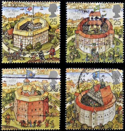 globe theatre: UNITED KINGDOM - CIRCA 1995: Four stamps printed in Great Britain dedicated to Reconstruction of Shakespeares Globe Theatre, circa 1995 Stock Photo