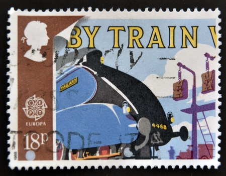 UNITED KINGDOM - CIRCA 1988: A stamp printed in Great Britain shows Mallard and Mailbags on Pick-up Arms, circa 1988 Stock Photo - 14823663