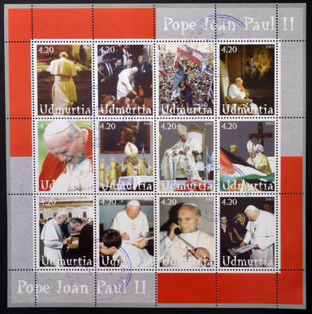 UDMURTIA - CIRCA 2003  Collection stamps printed in Udmurtia shows Pope John Paul II, circa 2003 Stock Photo - 14803330
