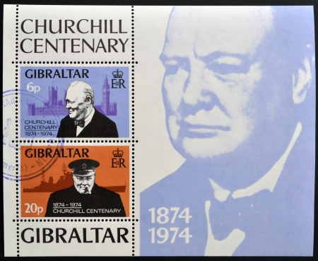 GIBRALTAR - CIRCA 1974 : Stamp printed in Gibraltar shows Winston Churchill, 1874-1974, circa 1974  Stock Photo - 14938800