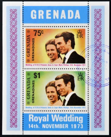 GRENADA - CIRCA 1973  Stamp printed in Grenada shows royal wedding of Pricess Anna and Captain  Mark Phillips, circa 1973