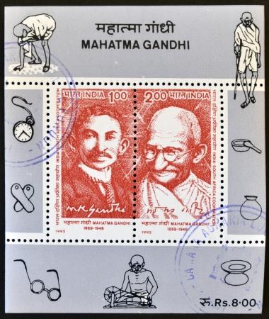 INDIA - CIRCA 1995  Stamp printed in India shows Mahatma Gandhi, circa 1995
