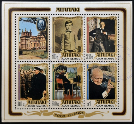 winston: COOK ISLANDS - CIRCA 1974  Collection stamps printed in Aitutaki shows sir Winston Churchill, circa 1974