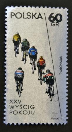 rapidity: POLAND - CIRCA 1972: A stamp printed in Poland shows cycling, circa 1972