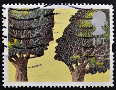 UNITED KINGDOM - CIRCA 1995: A stamp printed in Great Britain shows 'Troilus and Criseyde' by Peter Brookes, circa 1995 Stock Photo - 15211021