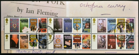 UNITED KINGDOM - CIRCA 2008: Collection stamps printed in Great Britain shows posters of the movies of James Bond, circa 2008