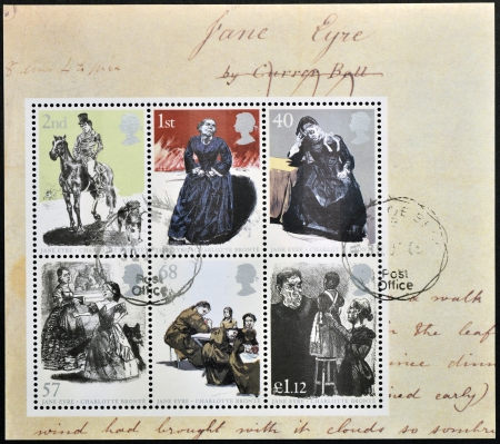 ligne: UNITED KINGDOM - CIRCA 2005: Collection stamps printed in Great Britain dedicated to Charlotte Bronte shows Jane Eyre, circa 2005