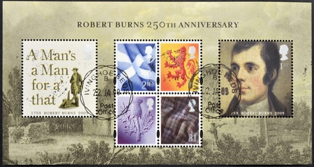 UNITED KINGDOM - CIRCA 2009: Collection stamps dedicated to 250th Anniversary of Robert Burns, circa 2009