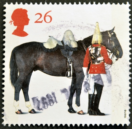 trooper: UNITED KINGDOM - CIRCA 1997: A stamp printed in Great Britain shows Lifeguards Horse and Trooper, circa 1997